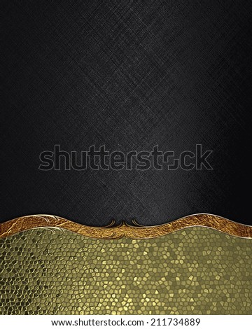 Abstract gold background with black plate for text with gold trim. Design template. Design site