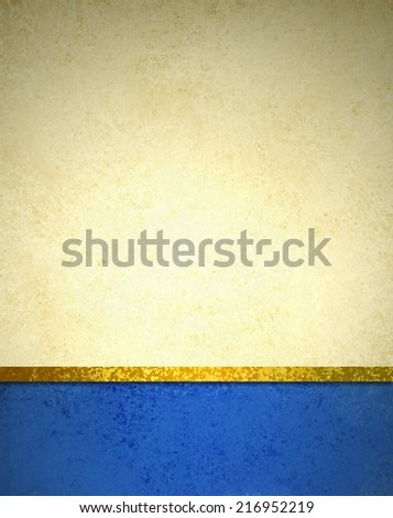 abstract gold background with blue footer and gold ribbon trim border, beautiful template background layout, luxury elegant gold paper with vintage grunge background texture design