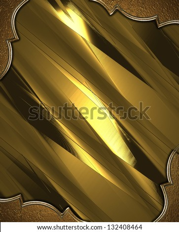 Abstract gold background with gold corners with gold trim