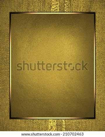 Abstract gold background with gold frame and yellow label. Design template. Design site