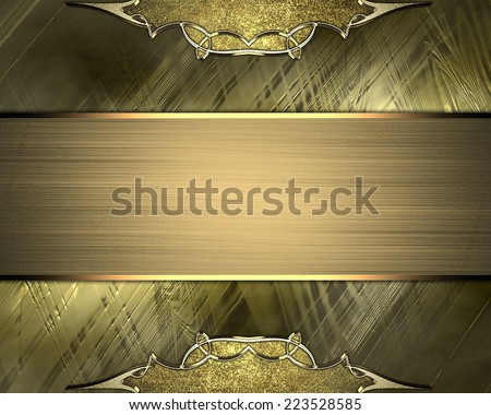 Abstract gold background with gold vintage edges and gold ribbon. Design template. Design site