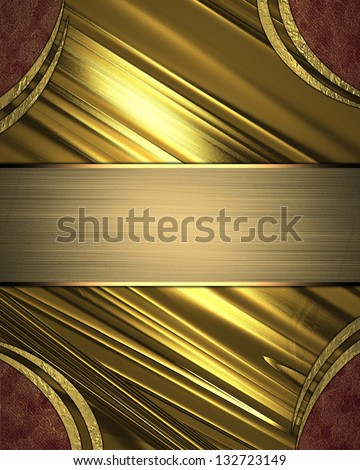 Abstract gold background with red and gold trim angles. Gold nameplate