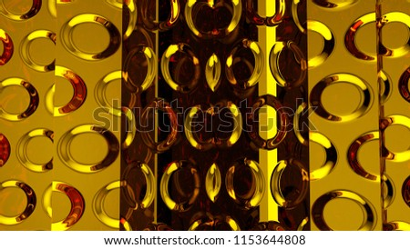 Abstract gold background with rings figures illustrations imitation glass ware 3D rendering #1153644808