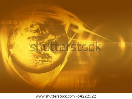 abstract gold background with the planet