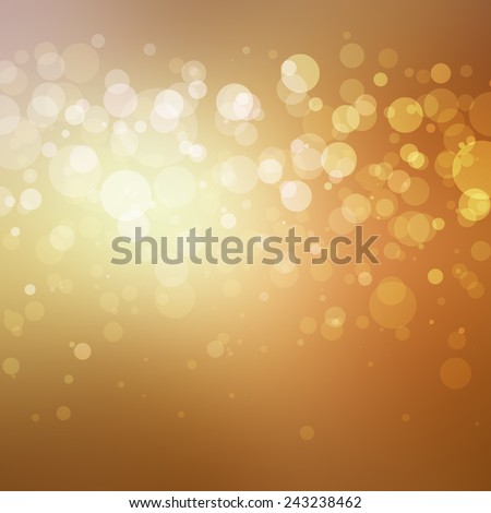 abstract gold background with white bokeh lights shining in stripe across center, bright shiny spotlight center behind layers of bubbles