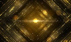 Abstract gold fractal composition. Magic explosion star with particles. motion illustration - Illustration