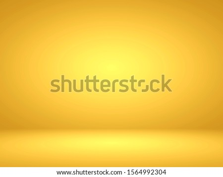 Abstract gold gradient spotlight room texture background.  Studio backdrop wallpaper light room wall golden and empty space.  Color yellow decor display products illustration 3d background.