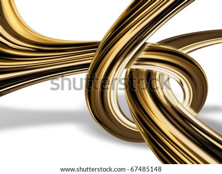 abstract gold knot isolated on a white background
