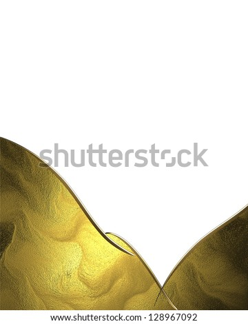 Abstract gold nameplate with gold trim isolated white background