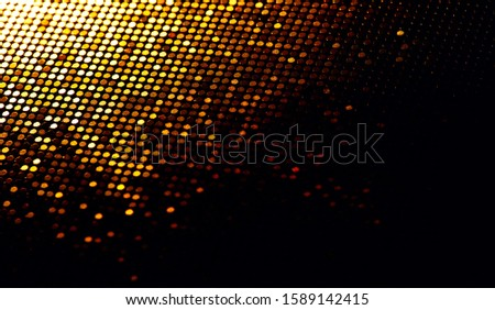 Abstract gold particle background, backdrop with glowing golden dots, hi-tech concept, yellow color screen. Modern mosaic border design. Christmas holiday Widescreen. Backdrops