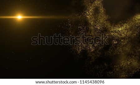 abstract gold shape and light particles in organic motion and engineering motion background. Depth of field settings. #1145438096