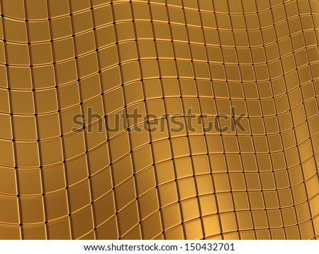 Abstract gold tile wave background with reflection.