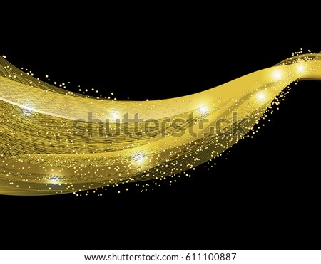 Abstract gold wave design element with glitter effect on dark background.  illustration #611100887