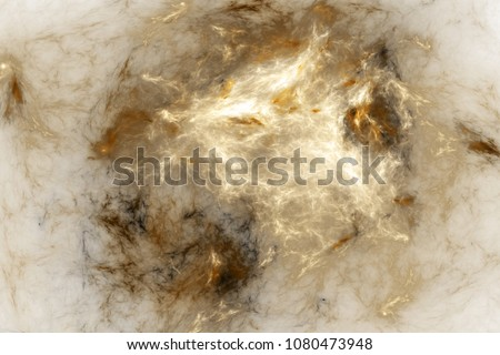 Abstract golden and grey smoky shapes. Fantasy colorful chaotic fractal texture. 3D rendering.