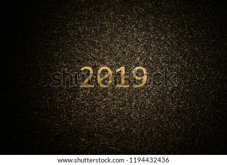 Abstract golden 2019 background with deep space theme. #1194432436