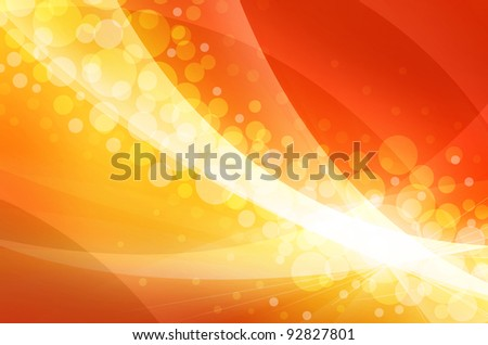 Abstract golden blurred lights on orange and red  background - stock photo