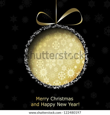 Abstract golden Christmas ball cutted from paper on black background. Raster copy of vector illustration