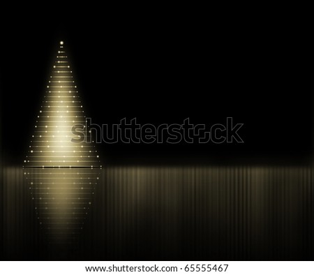 Abstract golden Christmas tree on the black background