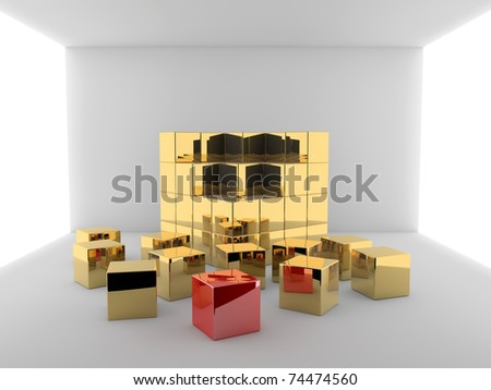 Abstract golden cubes with a red cube