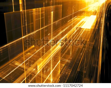 Abstract golden fractal background - computer-generated 3d illustration. Digital art: futuristic runway or hallway. Sci-fi or information technology concept backdrop.