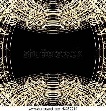 Abstract golden lines border isolated on black background with copy space directly in the middle center of the frame.