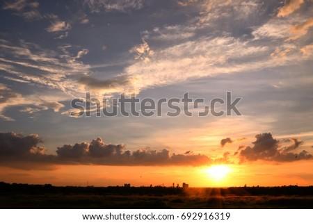 Abstract golden sunset light #692916319