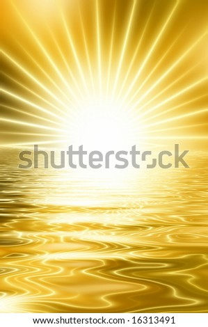 Abstract golden sunset reflecting in water