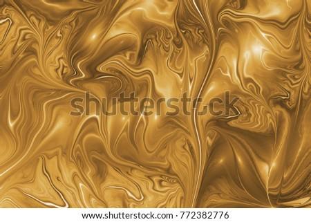 Abstract golden swirly texture. Fantasy fractal background. Digital art. 3D rendering. #772382776