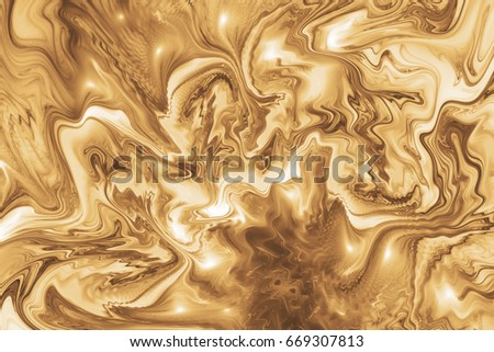 Abstract golden swirly texture. Fantasy fractal background in yellow and brown colors. Digital art. 3D rendering. #669307813