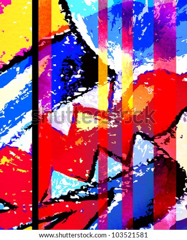 abstract graffiti collage, digital painting