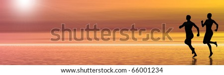 abstract graphic background banner showing the silhouettes of a jogging couple, room for text