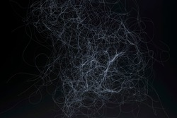 Abstract graphic background with dynamic thin lines, dark texture