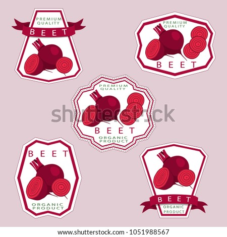 Abstract graphic icon illustration logo for whole ripe vegetables red beet, cut sliced, natural product on background. Beet pattern consisting of label for fresh sweet food. Eat raw beets in health.