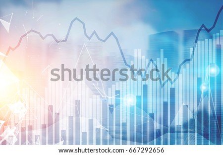 Abstract graphs and statistics in a modern city sky. Skyscrapers, panoramic view. Concept of trading and financial markets. Mock up toned image double exposure