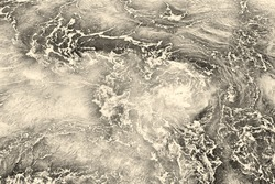 Abstract grayish marbled background, rippled water of sea surface in sepia color tone