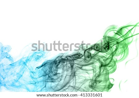 Abstract green and blue smoke on white background, Light blue background,green and blue ink background #413331601