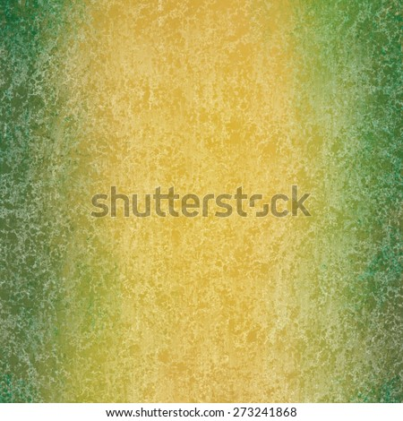 abstract green and gold background with textured white sponge grunge. distressed gold background with green border.