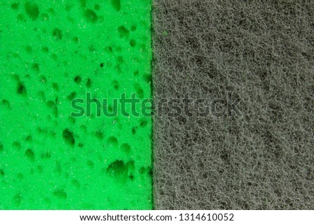 Abstract Green And Gray Texture Background. Cropped Shot Of Different  Sponge Texture. Washcloth, Close Up. #1314610052