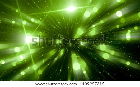 Abstract green background. Explosion star with gloss and lines. Illustration beautiful.