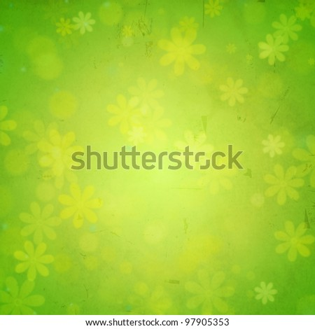 abstract green background - flowers over old paper