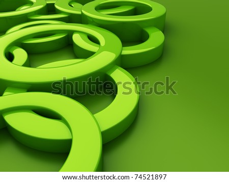 Abstract green background with circles and place - stock photo