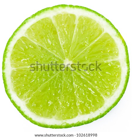 Abstract green background with citrus-fruit of lime slices. Close-up. Studio photography. #102618998