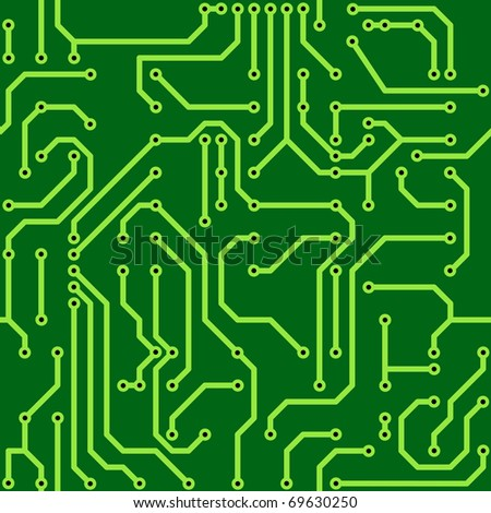 Abstract green background with conductor on computer circuit board. Raster illustration. Seamless pattern.