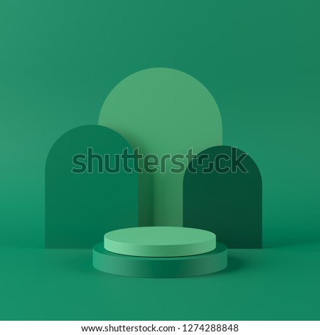 Abstract green background with geometric shape podium for product. minimal concept. 3d rendering stock photo