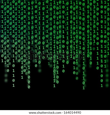 Abstract Green Binary Code on black background