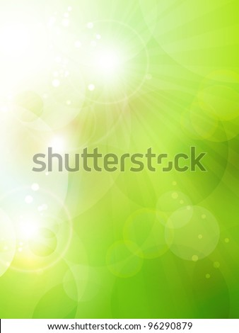 Abstract green blurry background with overlying semitransparent circles, light effects and sun burst. Great spring or green environmental background. Space for your text.  Vector available in my port. - stock photo