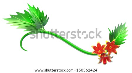 abstract green branch with leafs and flowers as decoration - stock photo