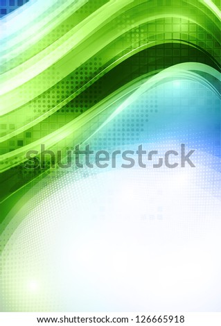 Abstract green card with lighting effect. Rasterized version