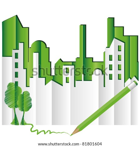Abstract green city. Eco world. Raster version
