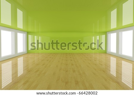 Abstract green empty room 3d render
